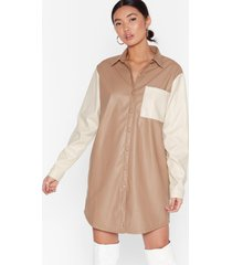 womens don't live in the contrast faux leather mini dress - nude