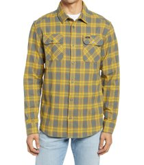 men's rvca that'll work regular fit plaid flannel button-up shirt, size xx-large - green