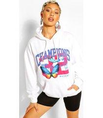 oversized vlinder hoodie, wit