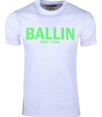 ballin est. 2013 heren t-shirt regular fit wit neon groen