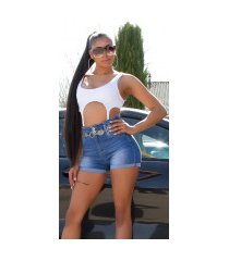 sexy hoge taille jeans shorts met elastic band blauw