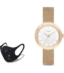 reloj hasir rose gold  fashion mask con cristales toms
