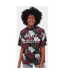 camiseta colcci full flowers feminina