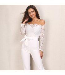 off shoulder lace jumpsuit wide leg long pants women bodycon rompers trousers