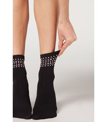 calzedonia pretty appliqué microfiber socks woman black size tu