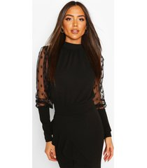 dobby mesh high neck top, black