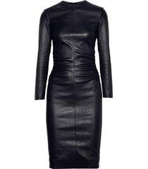 women celeb style haute couture premium cocktail party women leather dress-gn37