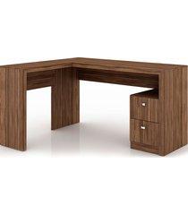 mesa para escritório 2 gavetas me4129 tecno mobili nogal videira - tricae