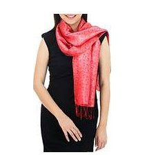 rayon and silk blend scarf, 'crimson bouquet' (thailand)
