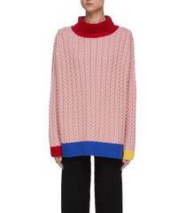colourblock turtleneck knit sweater