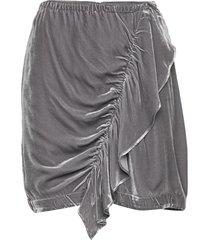 short velvet skirt with front drape kort kjol grå designers, remix