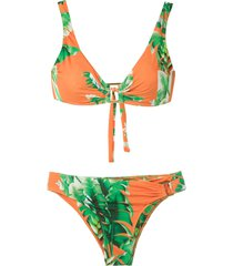 amir slama floral print bikini set - green