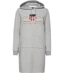 d1. archive shield hoodie dress kort klänning grå gant