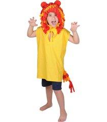 fantasia infantil bichos de pano leão p - menino - 35 x 47 cm - amarelo