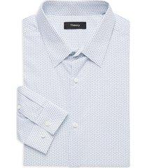 theory men's regular-fit cedrick geometric-print dress shirt - azure - size 16 r