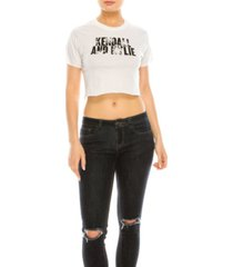 kendall + kylie crew neck crop top tee