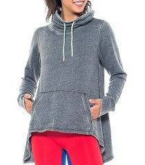 activology women's funnel-neck high-low hoodie - charcoal - size l