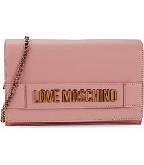 love moschino women's foldover chain crossbody bag - dark rose