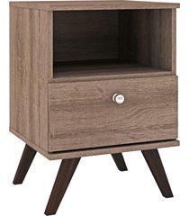 mesa de cabeceira 1 gaveta rãºstico marrom - marrom - dafiti