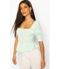 puff sleeve square neck peplum top, mint
