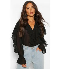 chiffon ruffle v neck blouse, black