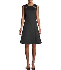 mesh sleeveless a-line dress