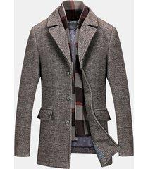 uomo cappotto invernale di lana misto con sciarpa a scacchi staccabile calda