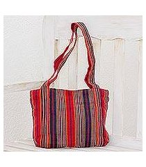 cotton tote, 'festive stripes' (11 inch) (el salvador)