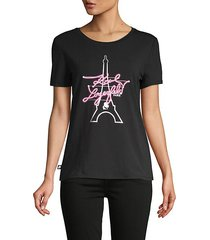 neon eiffel tower graphic t-shirt