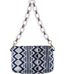 nina giada zig-zag brocade pattern shoulder bag with lucite chain