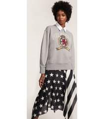 tommy hilfiger women's pure cotton crest sweatshirt light grey marl - l