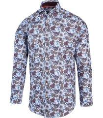blue industry heren overhemd met bloem print perfect fit
