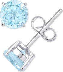 blue topaz solitaire stud earrings (2 ct. t.w.) in sterling silver