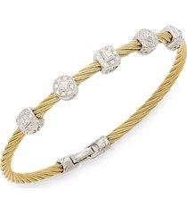 alor women's diamond, 18k yellow gold & steel coil bracelet