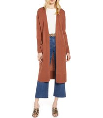 women's halogen wool & cashmere long cardigan, size small - brown