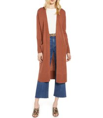 women's halogen wool & cashmere long cardigan, size medium - brown
