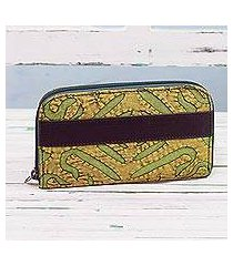 leather accent cotton wallet, 'avocado road' (india)
