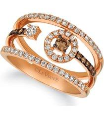 le vian chocolate diamond (3/8 ct. t.w.) & vanilla diamond (1/20 ct. t.w.) statement ring in 14k rose gold
