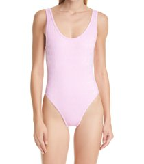 women's balmain logo embossed one-piece swimsuit, size 8 us - pink