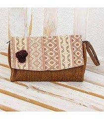 cotton wristlet handbag, 'brown maya zigzags' (guatemala)