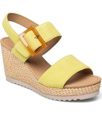 ankle-stap sandal sandalette med klack espadrilles gul gabor