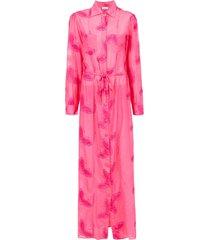 amir slama embroidered silk beach dress - pink