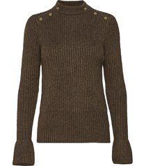 cosy pullover knit with tonal press buttons at shoulders stickad tröja brun scotch & soda