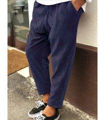 hombres vendimia pana rayas textura cordón cintura elástica pantalones