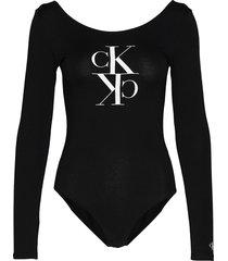 mirrored monogram bo t-shirts & tops bodies svart calvin klein jeans