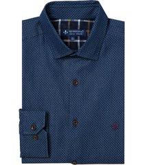 camisa dudalina manga longa indigo estampado masculina (estampado, 6)