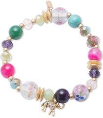 lonna & lilly gold-tone multi-bead tassel stretch bracelet