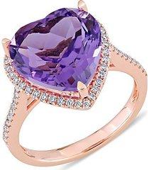 14k rose gold, amethyst & diamond cocktail ring