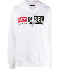 diesel patchwork logo hoodie - white