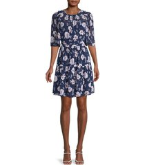 rebecca taylor women's floral tiered dress - navy combo - size xs